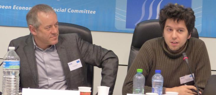 """Bruno Kaufmann and Michel Cermak """"from Stop TTIP"""" (right) at ECI Conference in Brussels"""