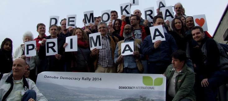 The participants of the Danube Democracy Rally in Bratislava