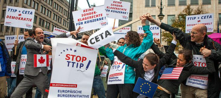 """Action day by """"Stop TTIP"""" in Berlin on 11 Oct. 2014, Phto by Jakub Huber, Flickr"""