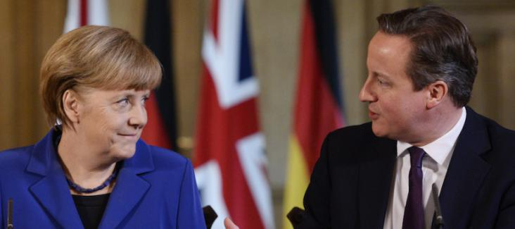 German chancellor Merkel and UK Prime Minister Cameron. Photo courtesy of Facundo Arrizabalaga/AP Photo.