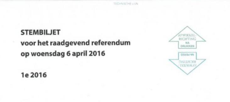 The ballot paper of the referendum on the EU-Ukraine Agreement
