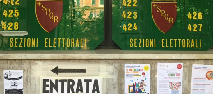 Entrance to a polling station in Rome. Photo by Bruno Kaufmann