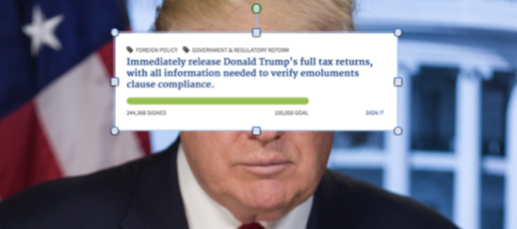 Trump's website online-petition