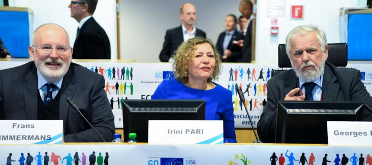 First Vice-President of the EU Commission Frans Timmermans, Irini Pari and Georges Dassis
