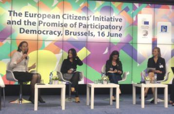 Sophie von Hatzfeldt advocating Democracy International's demands for ECI reform