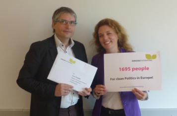 Sven Giegold, Member of European Parliament and Cora Pfafferott, representing Democracy International