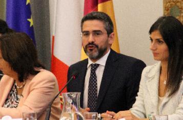 Mayor Virginia Raggi of Rome, Minister for Direct Democracy Riccardo Fraccaro and Flavia Marzano, Rome City Councillor on Innovation