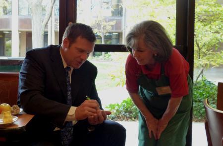 Kris Kobach, US State Secretary of Kansas and fan Lorraine at Panera Bread in Kansas City