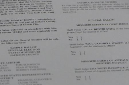 A sample of a ballot paper of Kansas City, Missouri, Election Day 2014