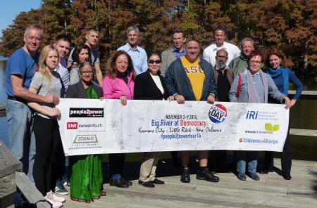 The participants of the journey at the Mississippi in Louisiana