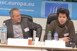 "Bruno Kaufmann and Michel Cermak ""from Stop TTIP"" (right) at ECI Conference in Brussels"