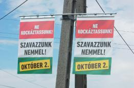 """""""Do not take chances!"""" Campaign poster of the Hungarian government. Source: The Little Glass Slipper, CC BY-SA 4.0"""