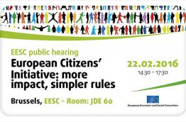 The poster of the ECI event in Brussels on 22 February 2016